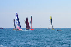 All Of The Volvo Ocean Racing Fleet Are Together As They Round A Marker Buoy Stock Image