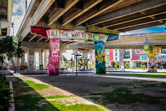 All the way to the bay. Graffiti under a bridge in chicano park , San Diego CA Stock Photos