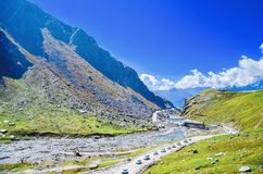 All the way to rothang pass !!. Manali in himachal paradesh Royalty Free Stock Photos