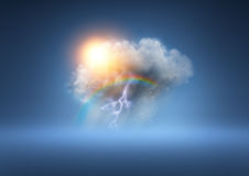 All Weather Cloud. A cloud with lots of weather elements Stock Images