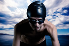 All weather swimmer rady to go. The young swimmer ready to go Royalty Free Stock Photo
