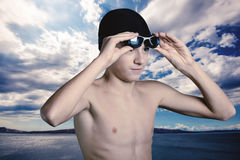 All weather swimmer rady to go. The young swimmer ready to go Stock Photo