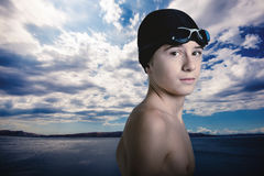 All weather swimmer rady to go. The young swimmer ready to go Royalty Free Stock Image