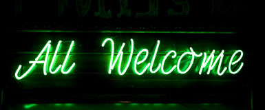 All Welcome. Neon green  inscription Royalty Free Stock Photo