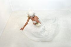 All White Bride Stock Photo