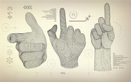 All wireframe hand Royalty Free Stock Photo