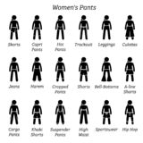 All women pants, trousers, and shorts designs. royalty free illustration