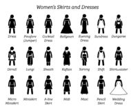 All women skirts and dresses designs. stock illustration