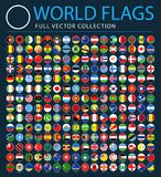 All World Flags on Black Background - New Additional List of Countries and Territories - Vector Round Flat Icons. All World Flags Set on Black Background - New royalty free illustration