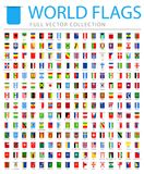 All World Flags - New Additional List of Countries and Territories - Vector Bookmark Flat Icons. All World Flags Set - New Additional List of Countries and Stock Photo
