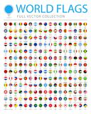 All World Flags - New Additional List of Countries and Territories - Vector Round Pin Flat Icons. All World Flags Set - New Additional List of Countries and Stock Image