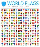 All World Flags - New Additional List of Countries and Territories - Vector Shield Flat Icons. All World Flags Set - New Additional List of Countries and stock illustration