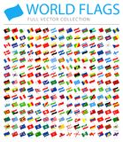 All World Flags - New Additional List of Countries and Territories - Vector Waving Flat Icons. All World Flags Set - New Additional List of Countries and stock illustration