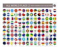 All World Flags speech bubble flat collection. Part 2. All World stock illustration
