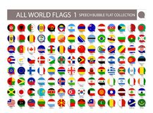 All World Flags speech bubble flat collection. Part 1. All World royalty free illustration