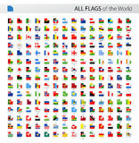 All World Square Corner Vector Flags - Collection Royalty Free Stock Image