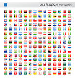 All World Square Glossy Vector Flags - Collection Stock Photography