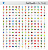 All World Vector Round Flag Pins - Collection Stock Photo