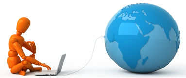 All world in your laptop. The person with laptop. Connect with all world. Abstract Royalty Free Stock Image