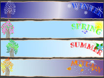 All-year seasonal banners. All-year seasonal banners with the stylized trees Royalty Free Stock Image