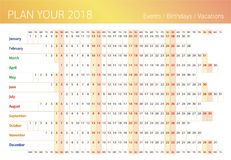 2018 all year wall planner. Template for filling. 2018 all year wall planner. Template for filling yourself  illustration. Annual work schedule planning to fill Stock Photography