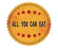 ALL-YOU-CAN-EAT文本,在葡萄酒黄色贴纸邮票 免版税库存照片