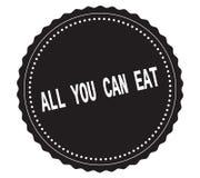 ALL-YOU-CAN-EAT文本,在黑贴纸邮票 免版税图库摄影