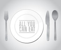 All you can eat plate restaurant illustration Royalty Free Stock Image