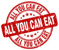 All you can eat red grunge round vintage stamp. All you can eat red grunge round vintage rubber stamp Stock Images