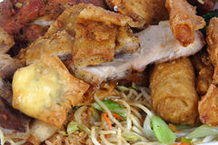 All you eat Chinese Buffet. All you can eat chinese buffet with noodles,rice,chicken,beef,pork and egg rolls Stock Photo