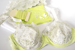 All you ned for sewing a bra in green Stock Photo
