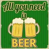 All you need is beer retro poster Royalty Free Stock Photography