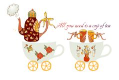 All you need is a cup of tea. Train from teacups. Cute cartoon card with teapots, flowers, birds and cups Stock Photos