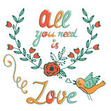 All you need is Love concept card with flofal background and hand written typography Royalty Free Stock Images