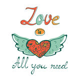 All you need is love concept card with flofal background and hand written typography Stock Photo