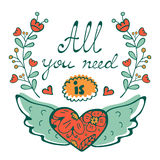 All you need is Love concept card with flying heart hand written typography Royalty Free Stock Image