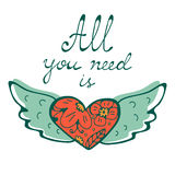 All you need is Love concept card with flying heart hand written typography Stock Photo