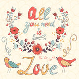 All you need is love.  Cute greeting card Stock Images