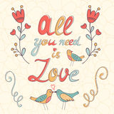 All you need is love.  Cute greeting card Stock Photography