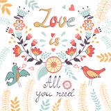 All you need is love.  Cute greeting card Stock Image