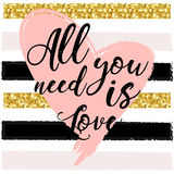 All you need is love. design for holiday greeting card and invitation of the wedding Royalty Free Stock Photo
