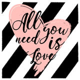 All you need is love. design for holiday greeting card and invitation of the wedding Royalty Free Stock Photos