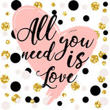 All you need is love. design for holiday greeting card and invitation of the wedding Royalty Free Stock Photography