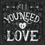 'All you need is love' hand-lettering for print, card. Valentine vintage hand-lettering card 'All you need is love'. Vector illustration vector illustration