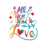 All you need is love lettering. stock illustration