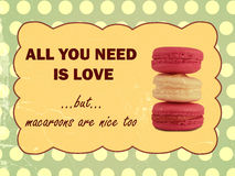 All you need is love, but macaroons are nice too. Saying and macaroons in retro style vector illustration