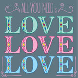 All you need is LOVE postcard Stock Photos