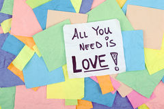All You Need is Love Quote Phrase Note Message Royalty Free Stock Photos
