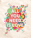All you need is love quote poster background Royalty Free Stock Photos