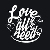 All You Need Is Love T-shirt Typography, Vector Illustration Royalty Free Stock Photography